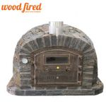 RUSTIC STONE WOOD FIRED PIZZA OVEN WITH CAST DOOR AND INSULATION 110CM X 110CM